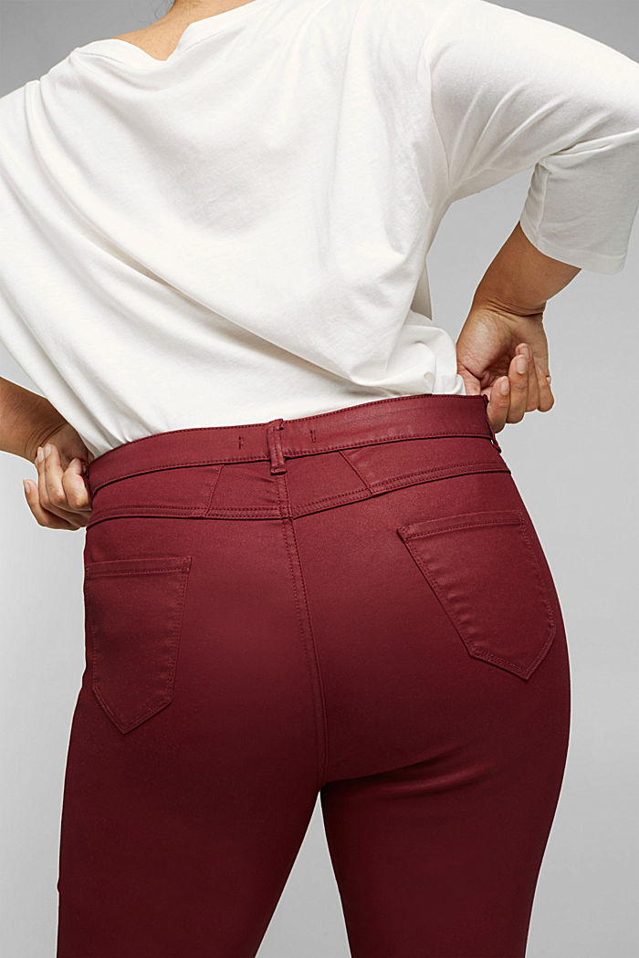 Skinny trousers with organic cotton, BORDEAUX RED, detail image number 5