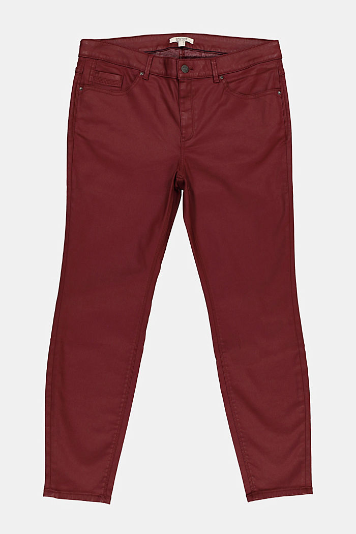 Skinny trousers with organic cotton, BORDEAUX RED, detail image number 6