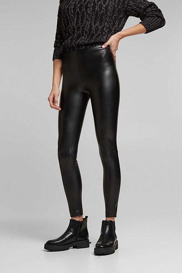 Faux leather leggings, BLACK, detail image number 0