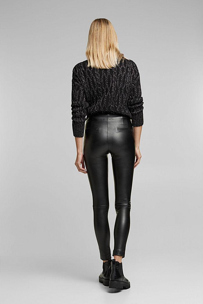 Faux leather leggings, BLACK, detail image number 3