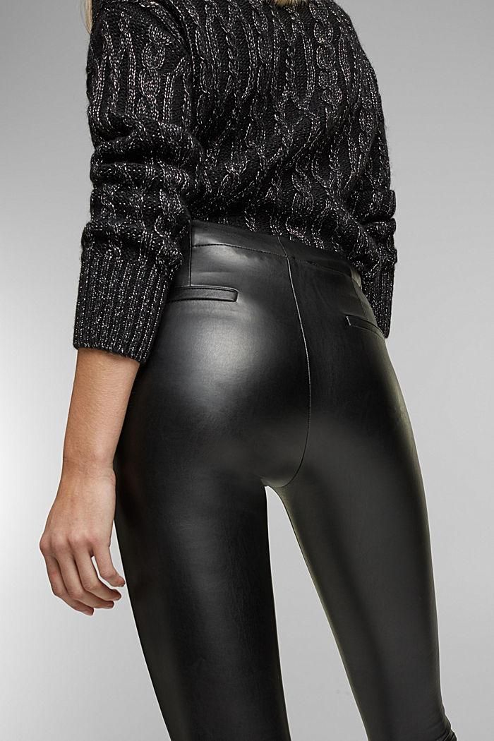 Faux leather leggings, BLACK, detail image number 5