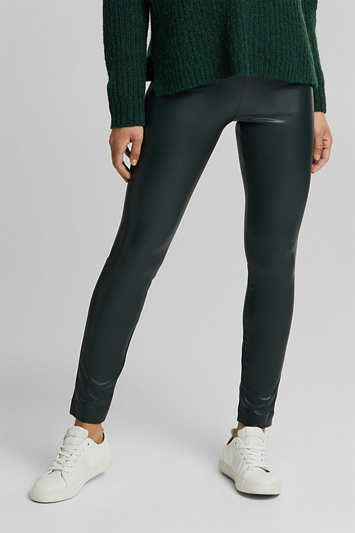 Leggings in Lederoptik, DARK GREEN, detail image number 0