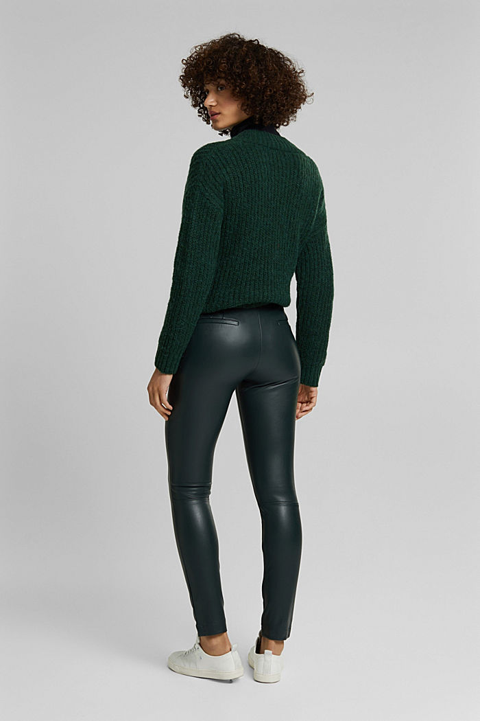 Leggings in Lederoptik, DARK GREEN, detail image number 3