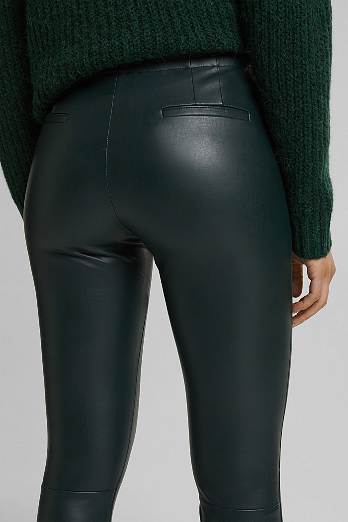 Leggings in Lederoptik, DARK GREEN, detail image number 5