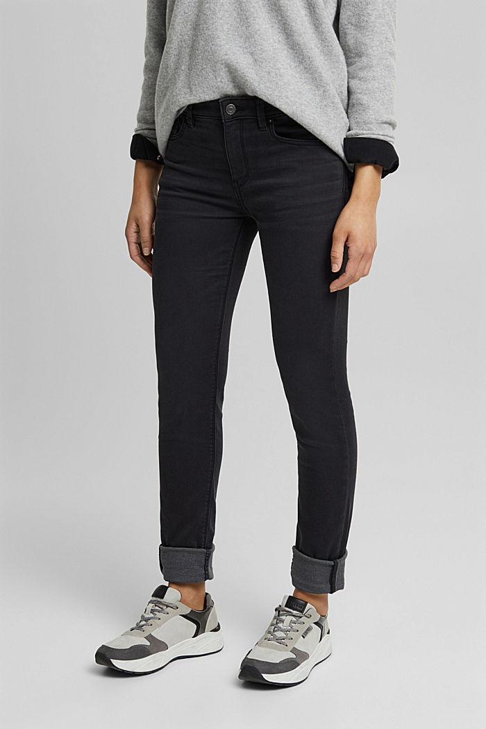 Super stretch jeans with organic cotton, BLACK DARK WASHED, detail image number 0