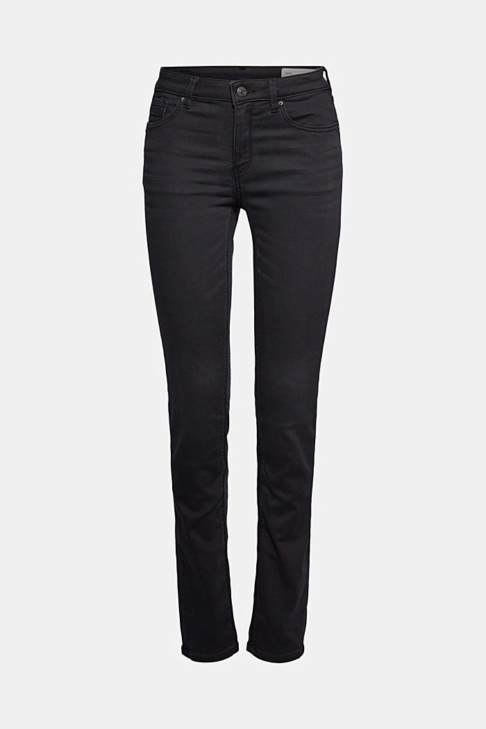 Super stretch jeans with organic cotton, BLACK DARK WASHED, overview