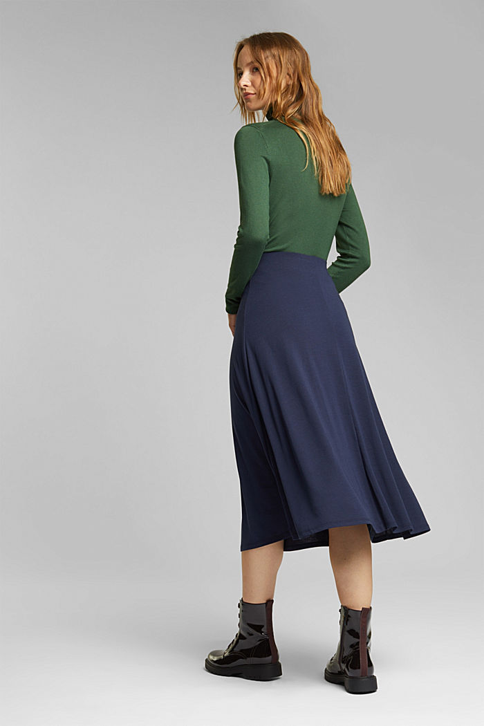 Flowing, midi length jersey skirt, NAVY, detail image number 3