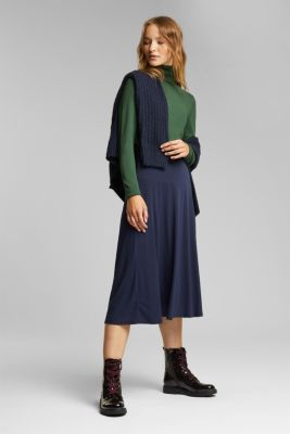 Flowing, midi length jersey skirt, NAVY, detail