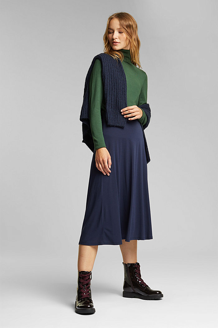 Flowing, midi length jersey skirt, NAVY, detail image number 1