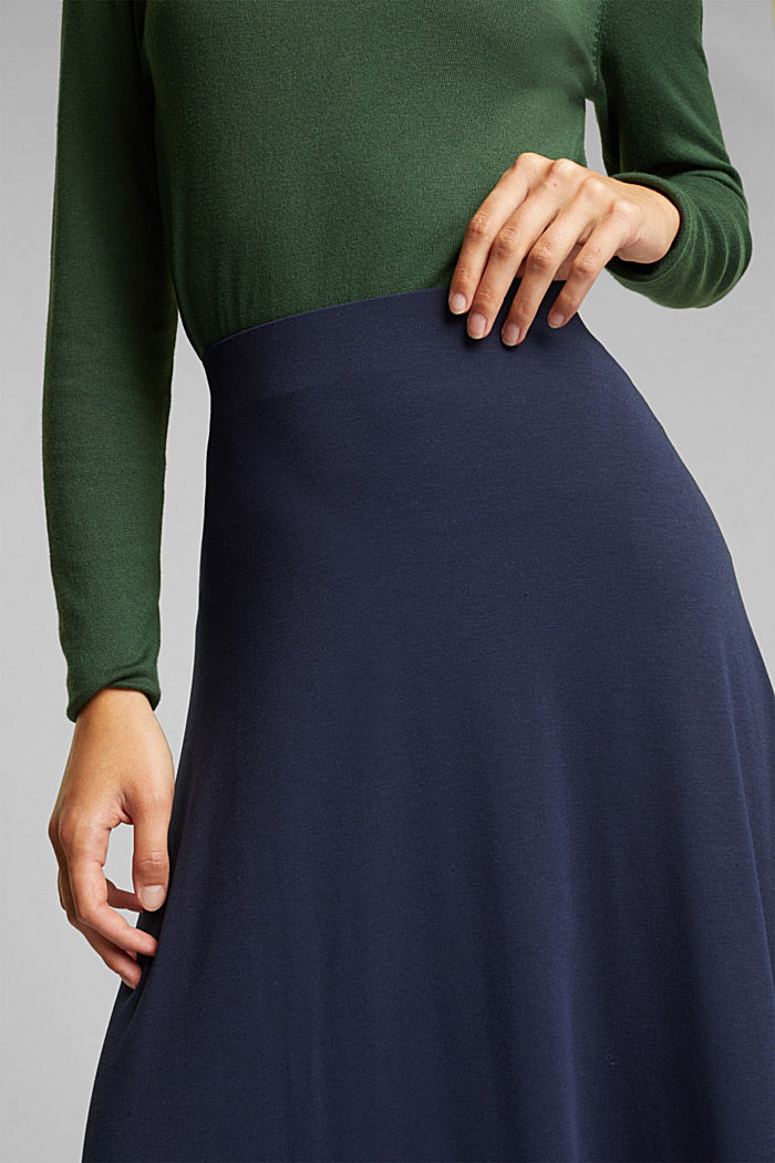 Flowing, midi length jersey skirt, NAVY, detail image number 2