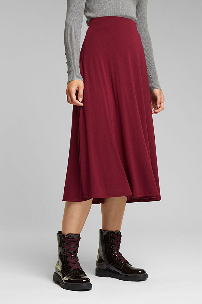 Flowing, midi length jersey skirt, BORDEAUX RED, detail image number 0