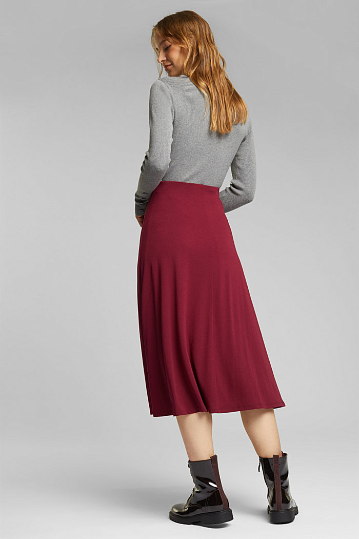Flowing, midi length jersey skirt, BORDEAUX RED, detail image number 3