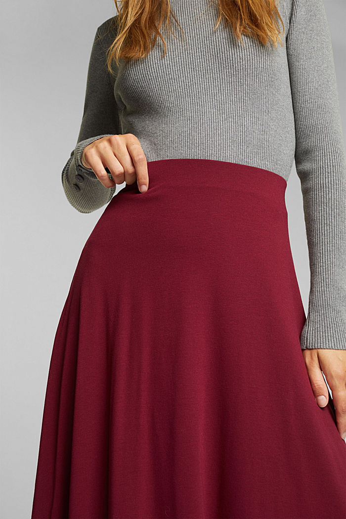 Flowing, midi length jersey skirt, BORDEAUX RED, detail image number 2