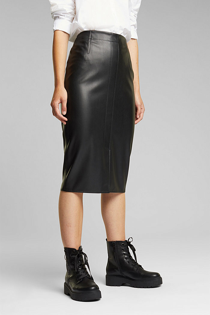 Pencil skirt made of vegan leather, BLACK, overview