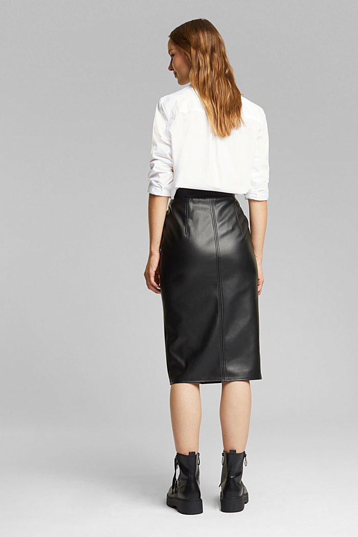 Pencil skirt made of vegan leather, BLACK, detail image number 3