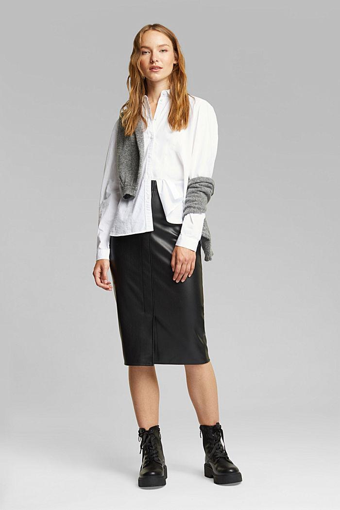 Pencil skirt made of vegan leather, BLACK, detail image number 1