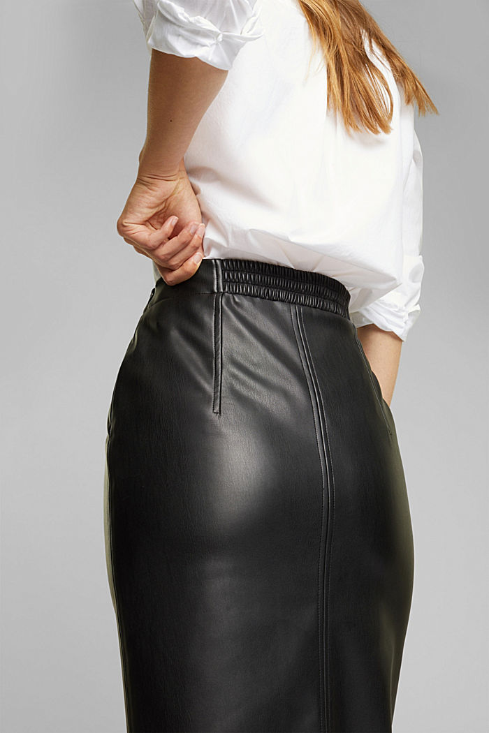 Pencil skirt made of vegan leather, BLACK, detail image number 2