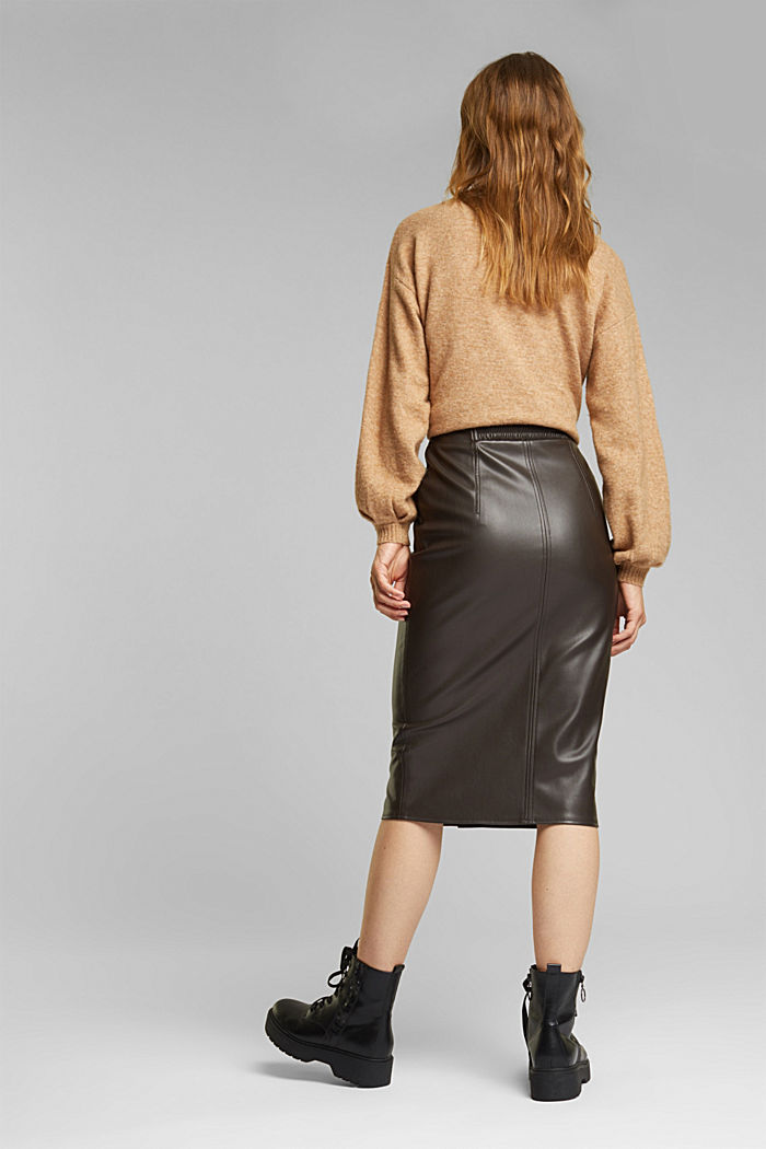 Pencil skirt made of vegan leather, BROWN, detail image number 3