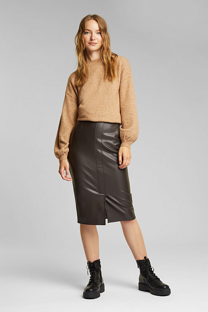 Pencil skirt made of vegan leather, BROWN, detail image number 1