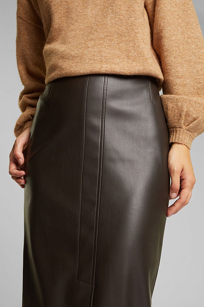 Pencil skirt made of vegan leather, BROWN, detail image number 2