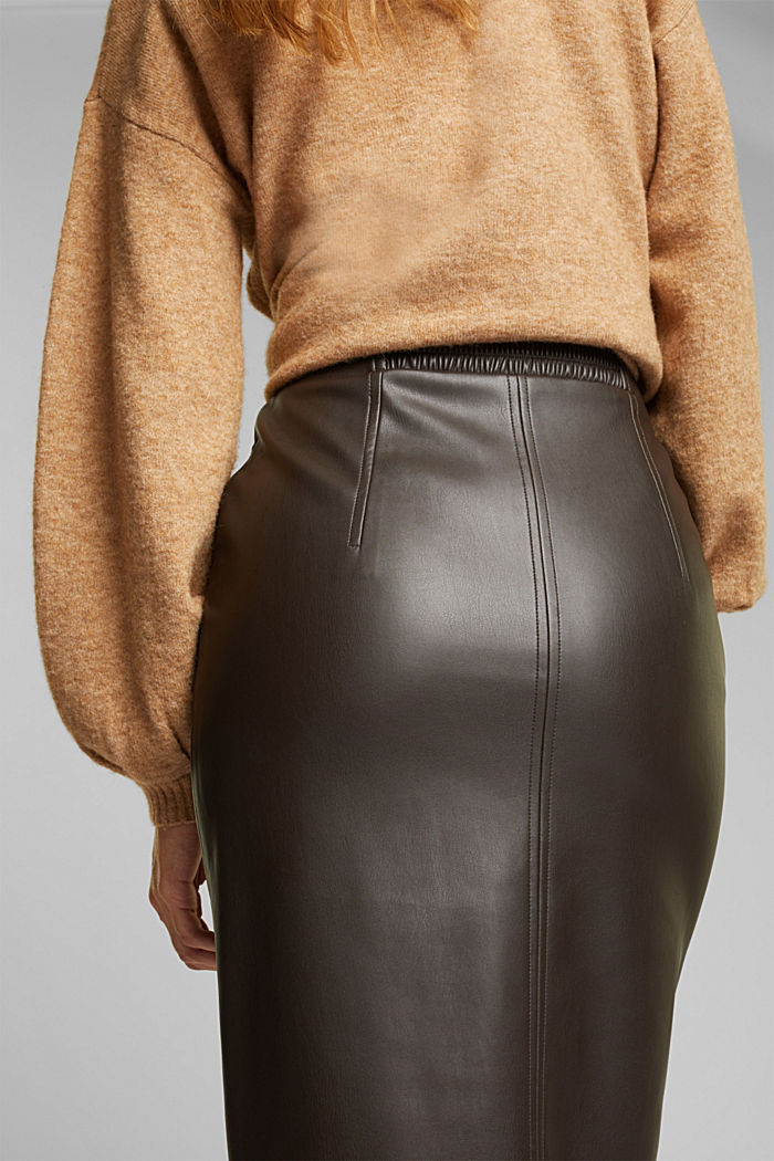 Pencil skirt made of vegan leather, BROWN, detail image number 5