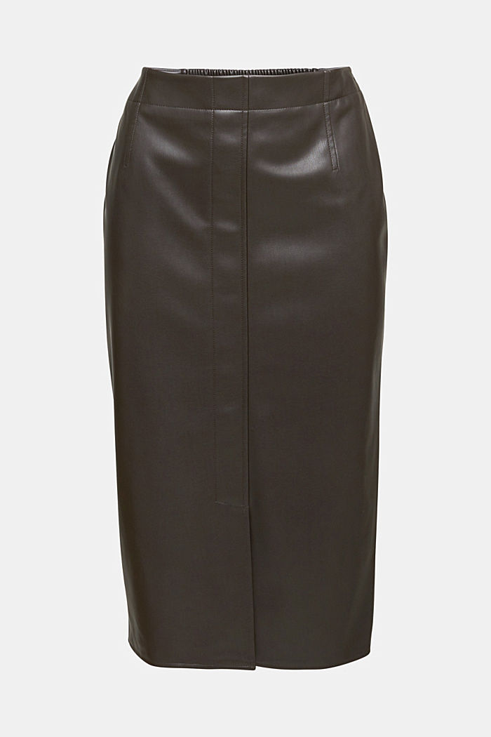 Pencil skirt made of vegan leather, BROWN, detail image number 6