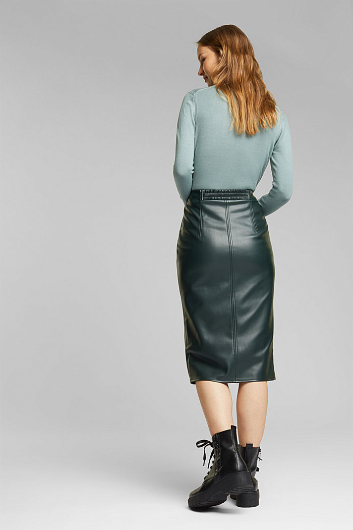 Pencil skirt made of vegan leather, DARK GREEN, detail image number 3