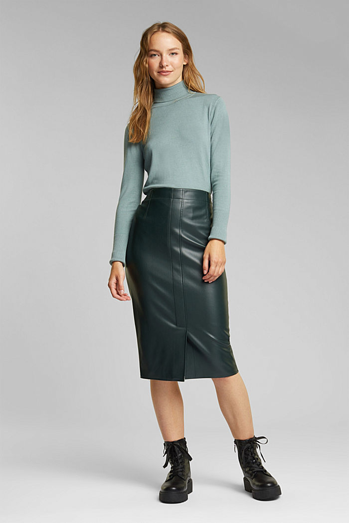 Pencil skirt made of vegan leather, DARK GREEN, detail image number 1