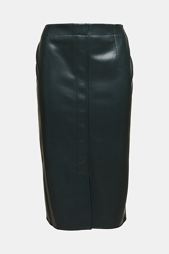 Pencil skirt made of vegan leather, DARK GREEN, detail image number 5