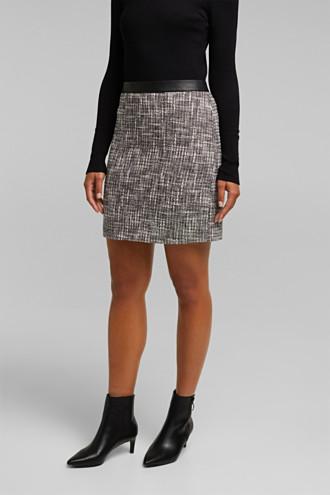Bouclé skirt with a faux leather waistband