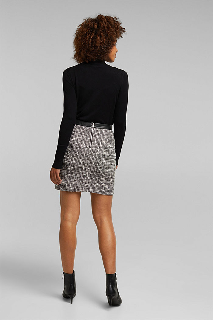 Bouclé skirt with a faux leather waistband, BLACK, detail image number 2
