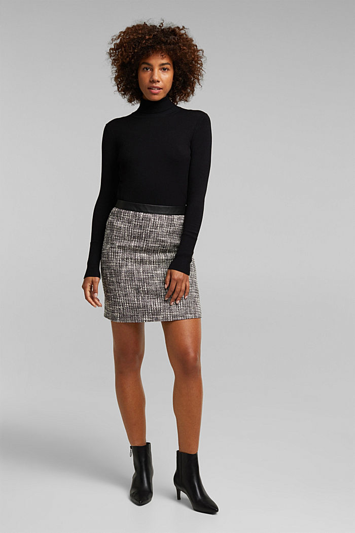 Bouclé skirt with a faux leather waistband, BLACK, detail image number 1