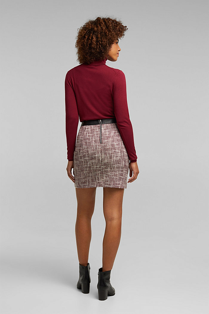 Bouclé skirt with a faux leather waistband, BORDEAUX RED, detail image number 2