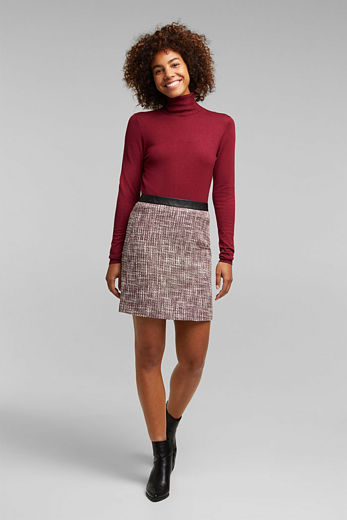Bouclé skirt with a faux leather waistband, BORDEAUX RED, detail image number 1