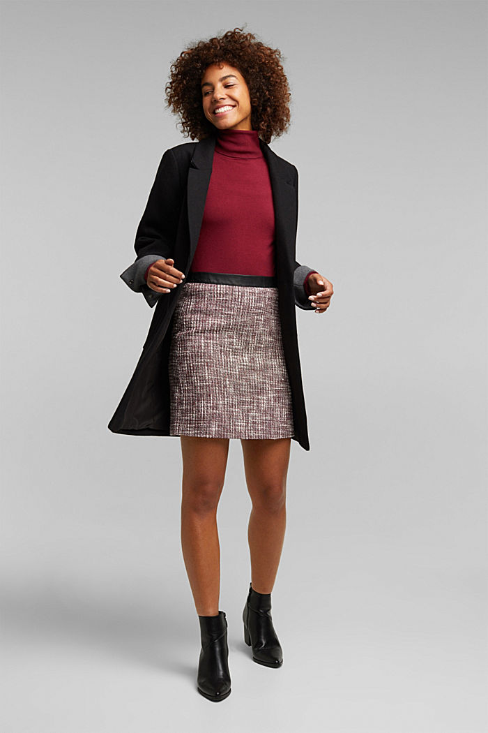 Bouclé skirt with a faux leather waistband, BORDEAUX RED, detail image number 4