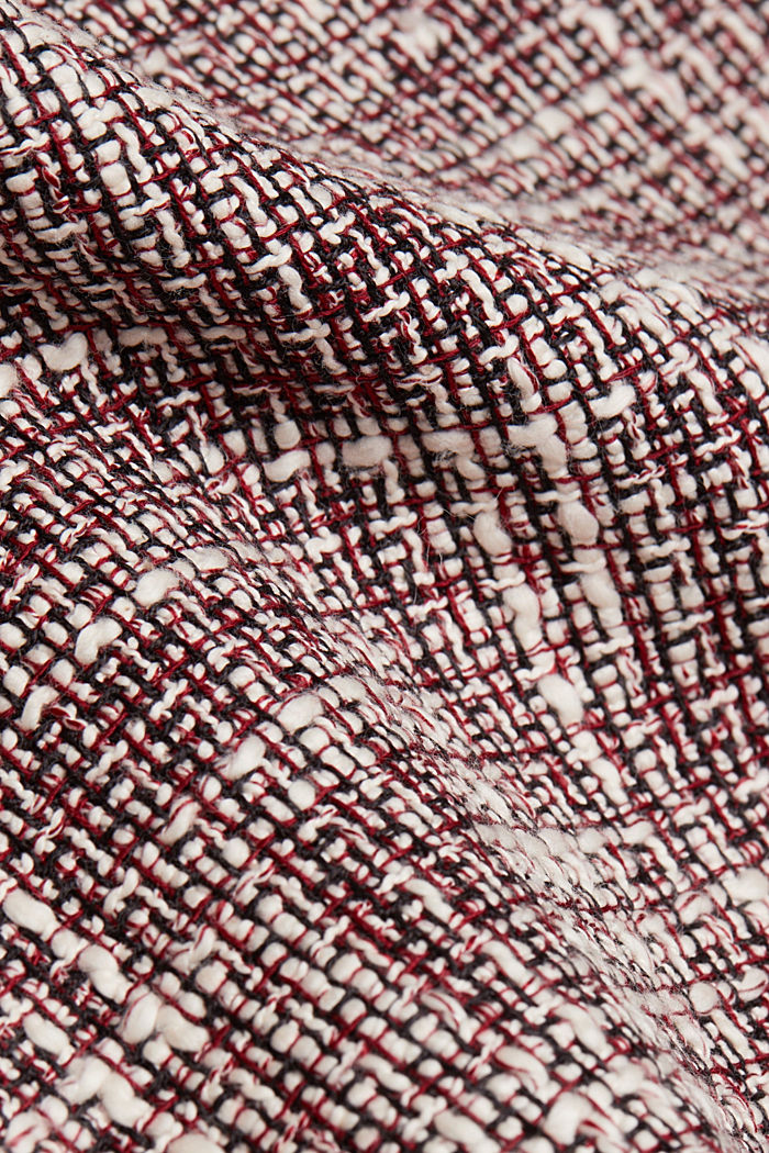 Bouclé skirt with a faux leather waistband, BORDEAUX RED, detail image number 3