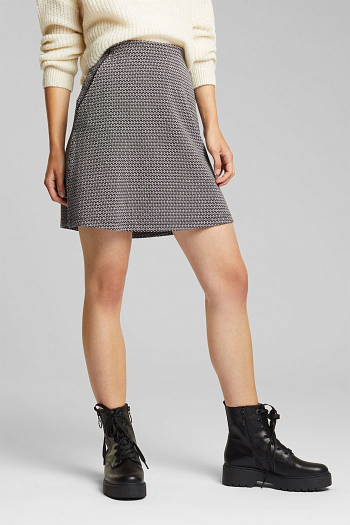 Jersey skirt with a jacquard pattern, BLACK, detail image number 0