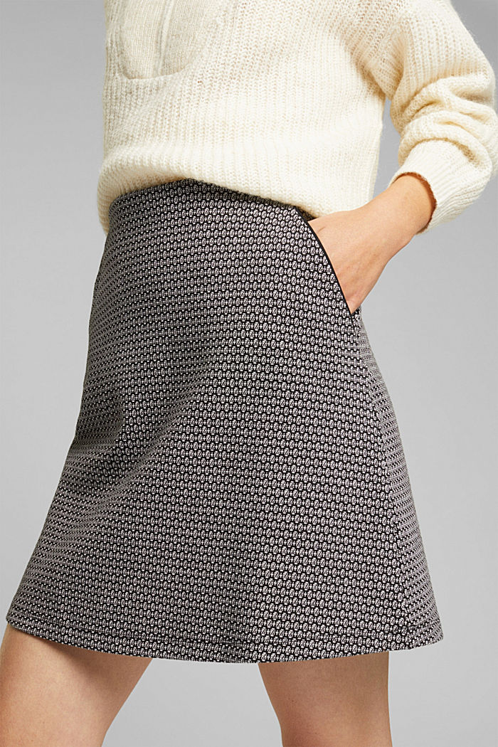 Jersey skirt with a jacquard pattern, BLACK, detail image number 2