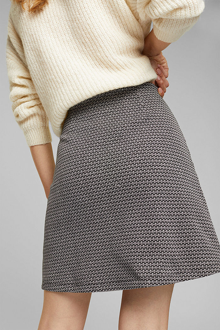 Jersey skirt with a jacquard pattern, BLACK, detail image number 5