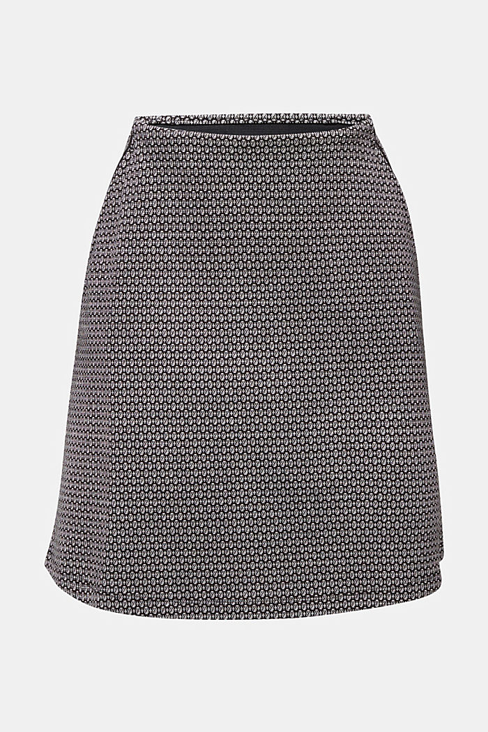 Jersey skirt with a jacquard pattern, BLACK, detail image number 6