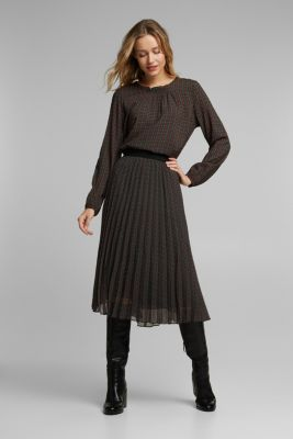 Recycled: Pleated skirt with an elasticated waistband, DARK GREEN, detail