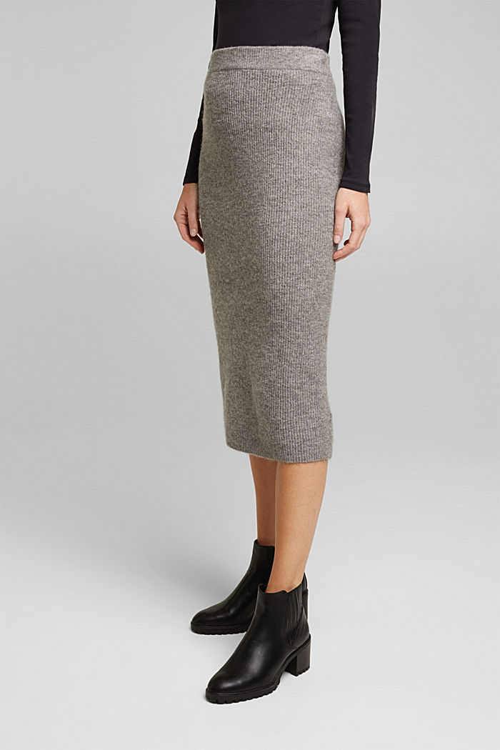 Wool blend: rib knit skirt, GUNMETAL, detail image number 0
