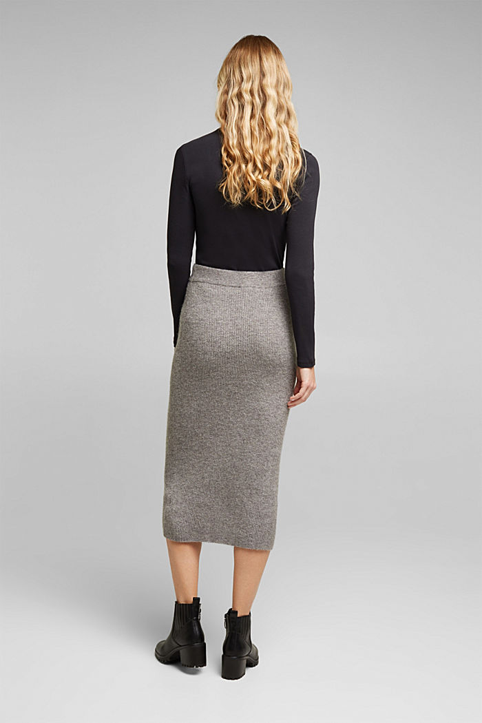 Wool blend: rib knit skirt, GUNMETAL, detail image number 3