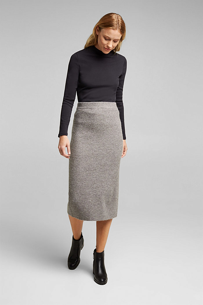 Wool blend: rib knit skirt, GUNMETAL, detail image number 1
