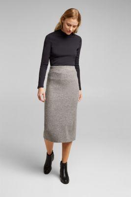 Wool blend: rib knit skirt, GUNMETAL, detail