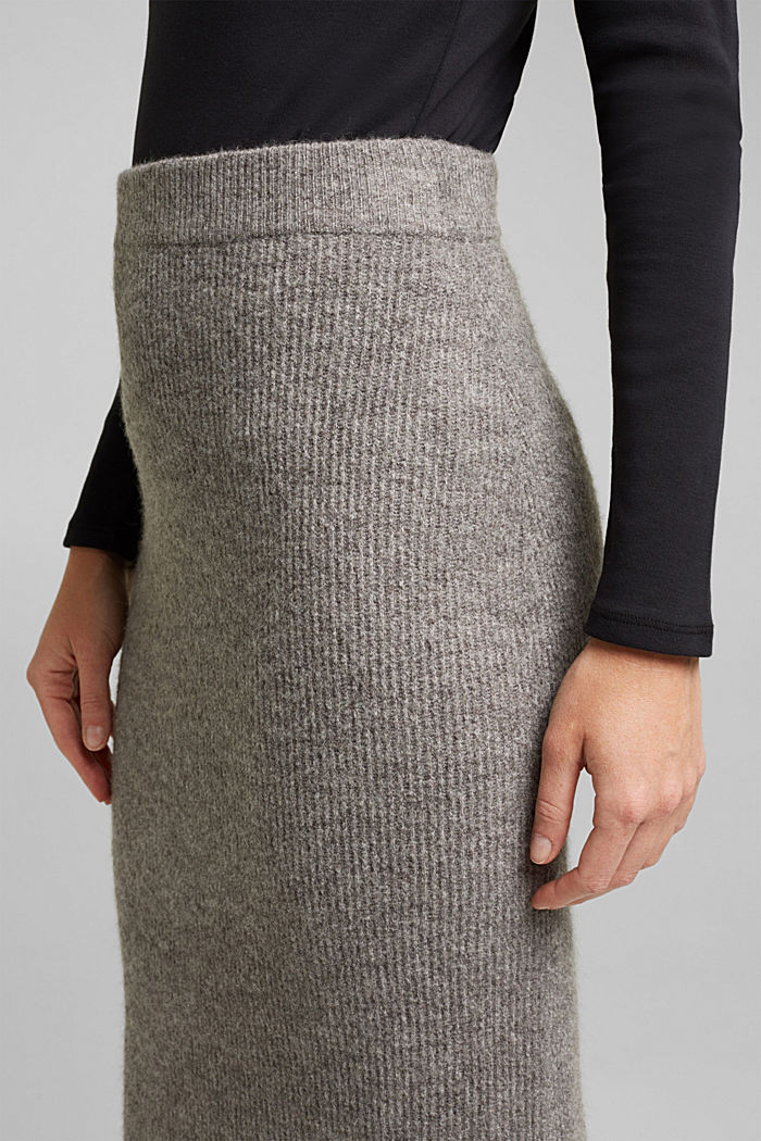 Wool blend: rib knit skirt, GUNMETAL, detail image number 2