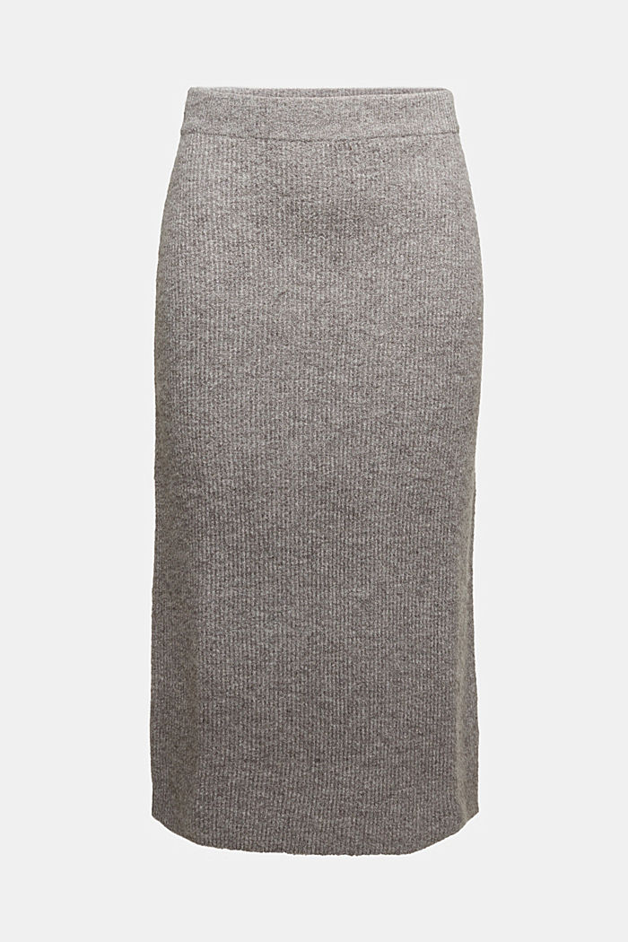 Wool blend: rib knit skirt, GUNMETAL, detail image number 5