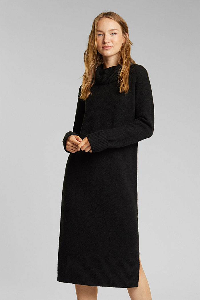 With wool/alpaca: Polo neck knitted dress, BLACK, detail image number 0