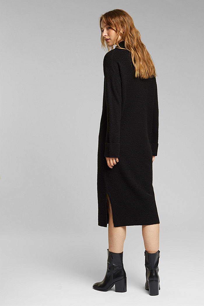 With wool/alpaca: Polo neck knitted dress, BLACK, detail image number 2