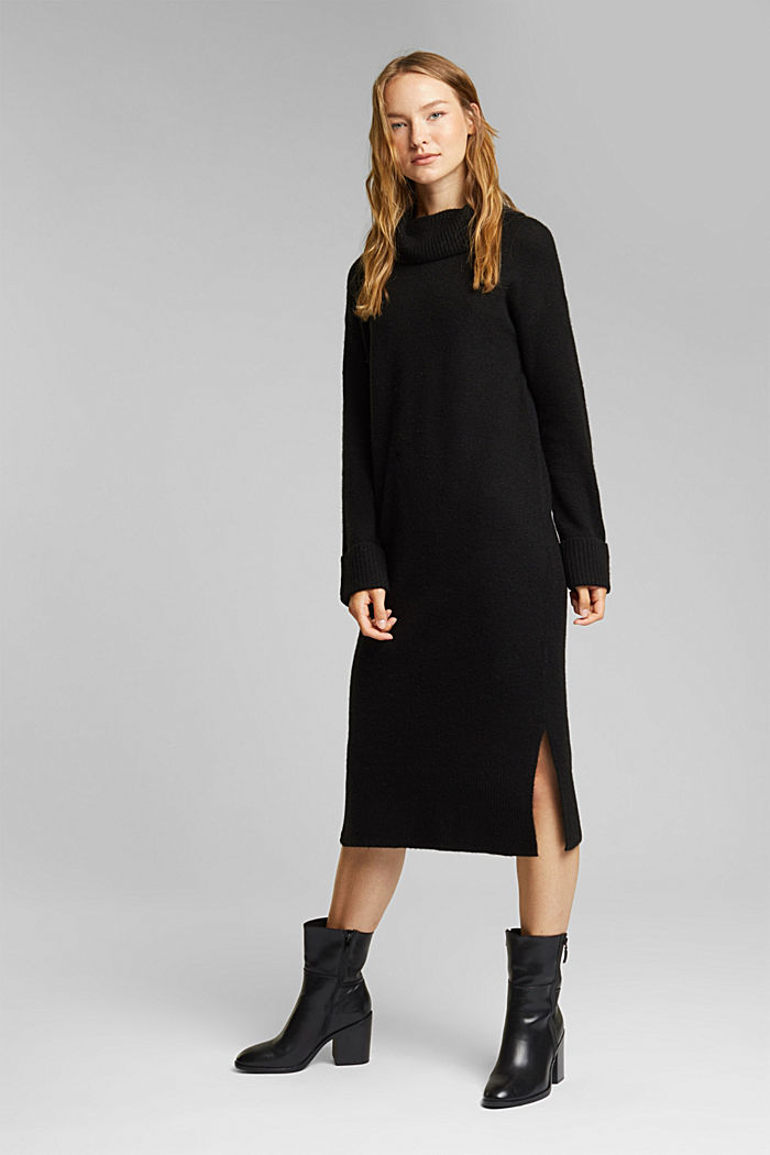 With wool/alpaca: Polo neck knitted dress, BLACK, detail image number 1